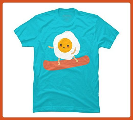 Cute Egg And Bacon Snowboarder Men's Large Ocean Blue Graphic T Shirt - Food and drink shirts (*Partner-Link)