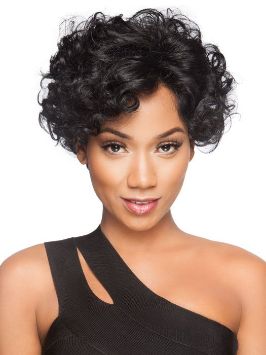 Curly, sexy, exciting! Ringlet curls can be worn polished and tight or can be combed out to loosen the curl. Ready-to-wear with a virtually invisible lace front.