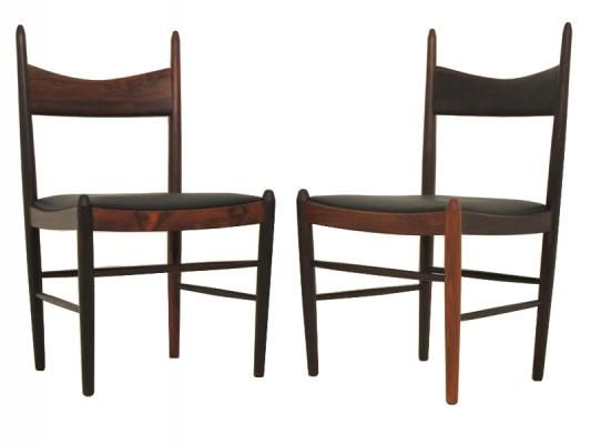 Set of Six Rosewood Dining chairs   set of six rosewood dining chairs PRICE SOLD  DESIGNER Illum Wikkelsø  MANUFACTURER H. Vestervig Eriksen  ORIGIN Denmark  DESCRIPTION An unbelievably stunning and quite unique set of Danish rosewood dining chairs!  Good strong solid rosewood frames with an unusual back rest which really makes an impact visually as well as giving great support.  Designed in 1960 by Illum Wikkelso for Vestervig Eriksen,