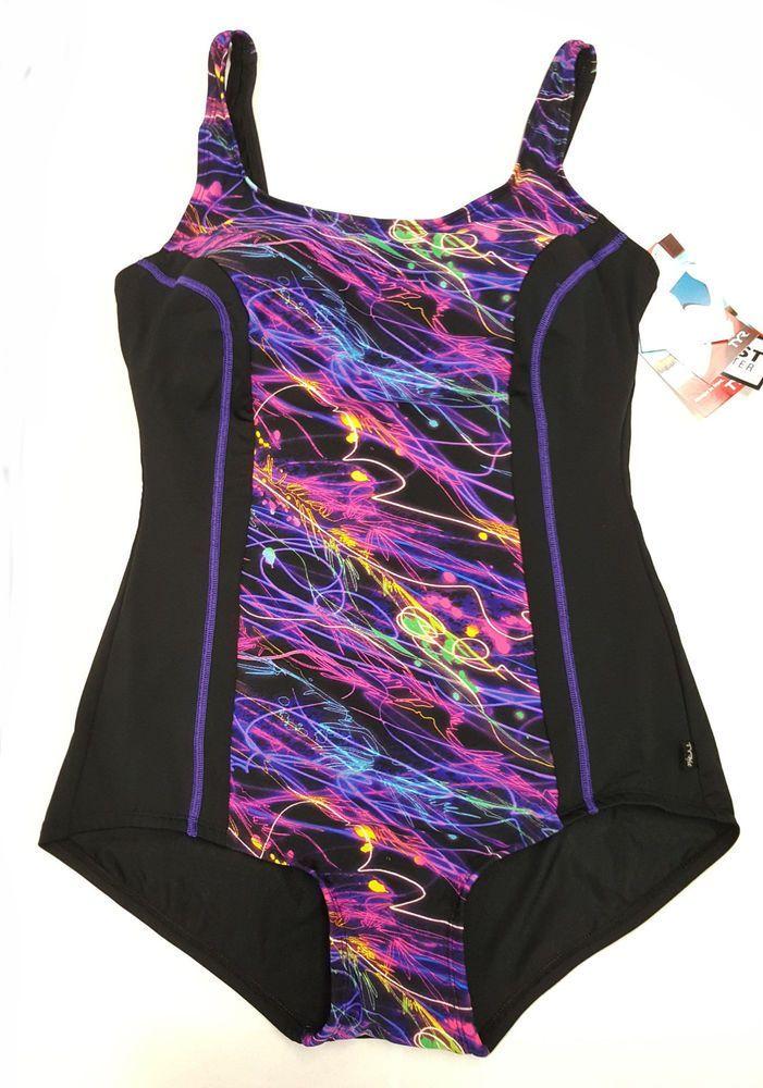 New TYR Women Fitness Swimsuit Women 18 Black Chlorine Resistant 100%  Polyester | eBay