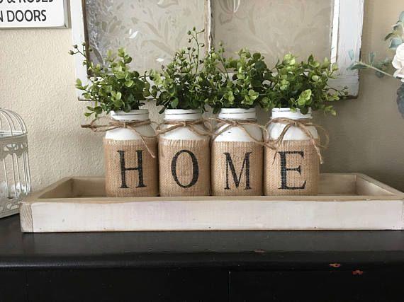 Country Home Decor, Mason Jars With Burlap, Painted Mason Jars, Mason Jars With Flowers,Southern Home Decor, Rustic Decor, Living Room Decor