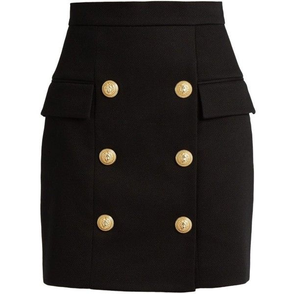Balmain Black Heavy Cotton Button Front Mini Skirt ($1,600) ❤ liked on Polyvore featuring skirts, mini skirts, black, button front skirt, mini skirt, balmain, embellished mini skirt and short skirts