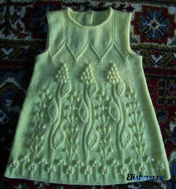 Детское платье с ажурным узором вязаное спицами и крючком | Блог elisheva.ru