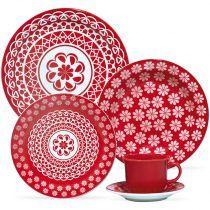 Aparelho de Jantar Floreal Renda - 20 peças - Oxford Vermelho