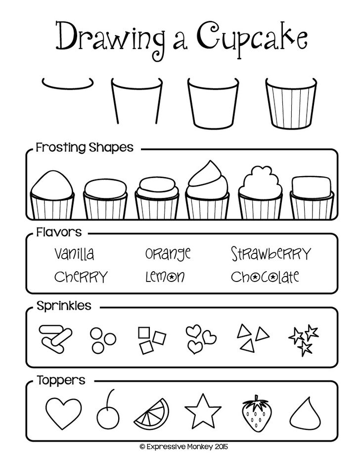 Cupcake drawing ideas from Expressive Monkey. This would be a great sheet to use with a Wayne Theibaud lesson.