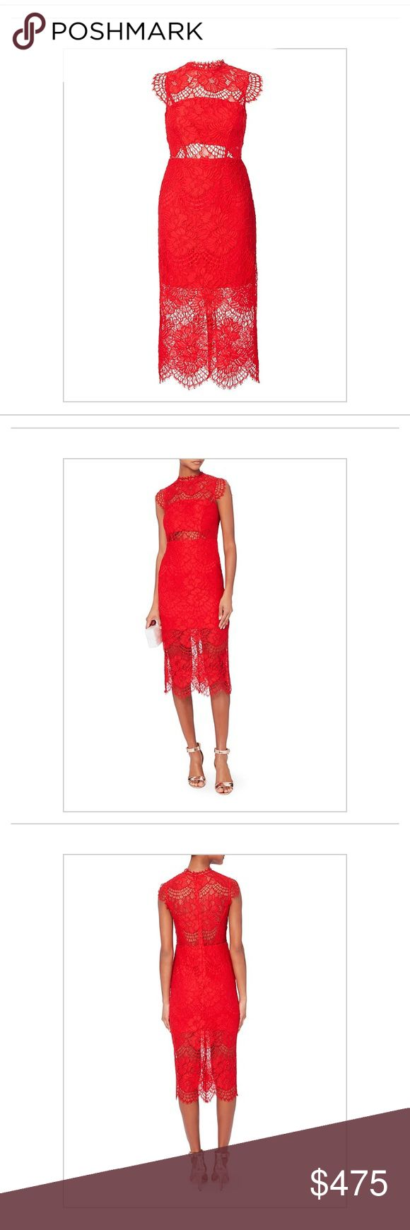 Alexis Lila Lace Midi Dress in Red Gorgeous, brand new, never been worn midi dress from Intermix! Alexis Dresses Midi