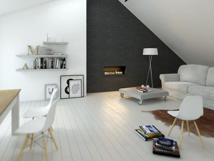 Minimalist Scandinavian attic living room