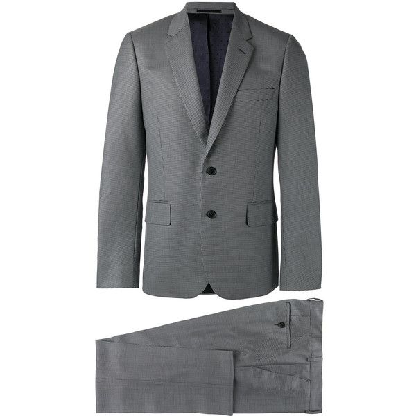 Paul Smith Houndstooth Two-piece Suit ($1,135) ❤ liked on Polyvore featuring men's fashion, men's clothing, men's suits, mens wool suits, paul smith mens suits, mens houndstooth suit, mens gray suit and mens grey suits