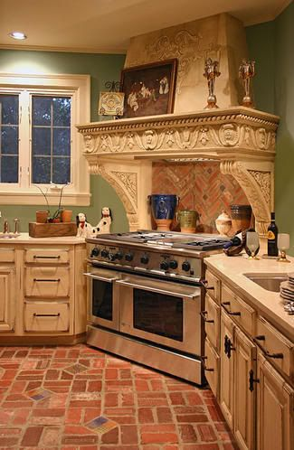Brick Kitchen Floors And Beautiful Range Hood