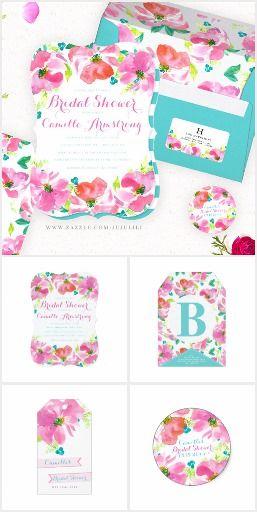 Modern Summer Pink Floral Turquoise Bridal Shower