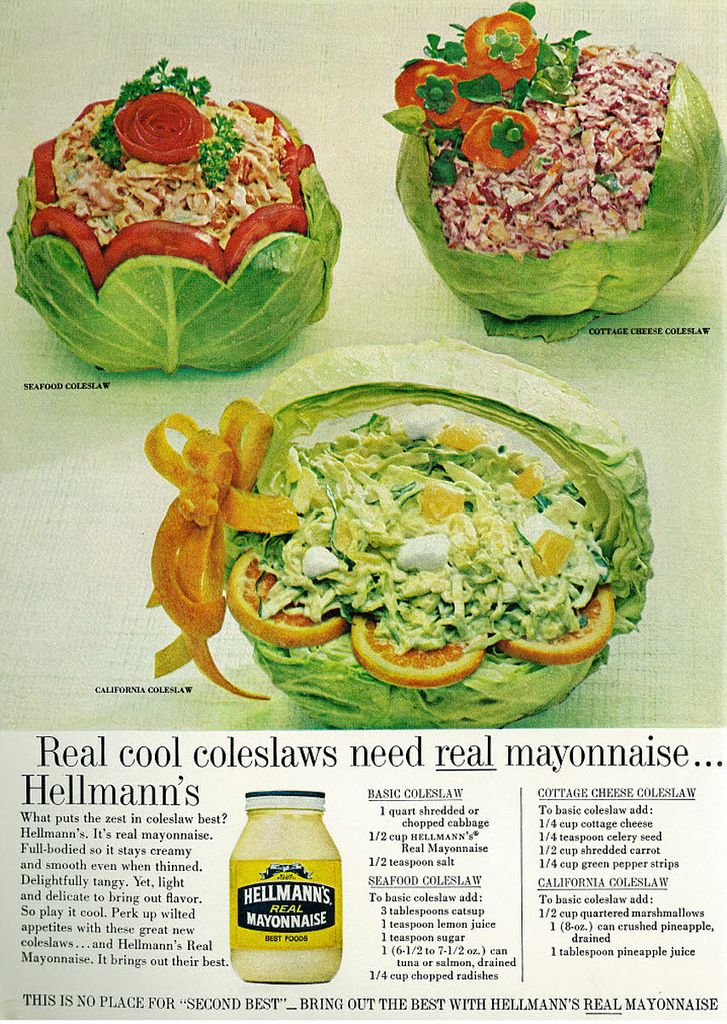 1966 Hellmann's Mayonnaise Ad, with 4 Coleslaw Recipes, Woman's Day Magazine