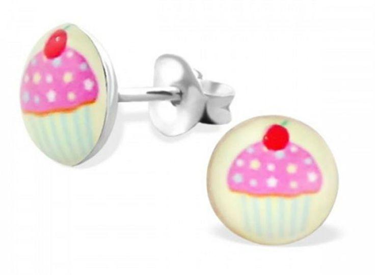 Zilveren kinderoorbellen Cupcake - 925 Sterling zilver