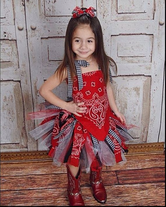 Red Paisley Bandana Cowgirl Birthday Outfit