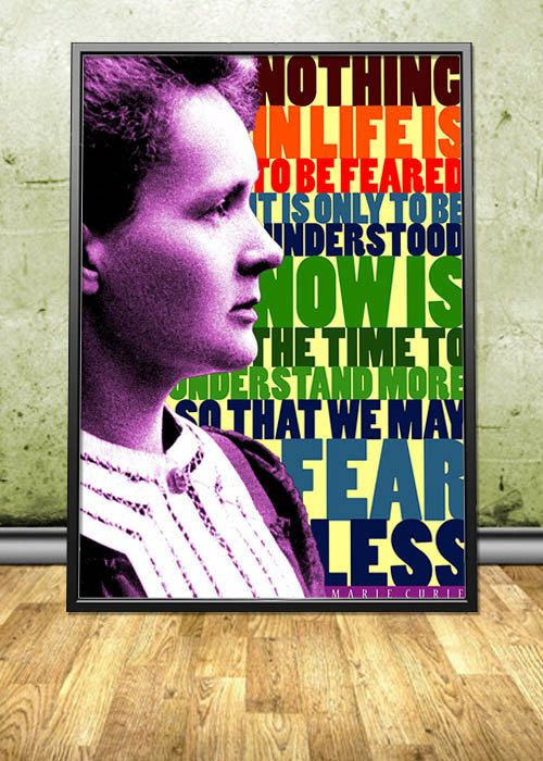 """Marie Curie printable instant download poster - good for decorating any interior - either in your homes and offices or in your shops, cafes, bookstores, dorms, etc. By pahleeloola. Use the coupon code, """"PIN10"""" for 10% off on your entire purchase! Click to buy and print!"""