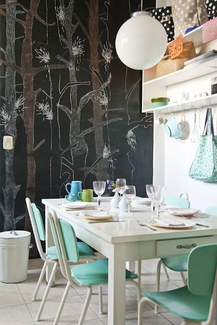 Best AQUAmarine Interiors Images On Pinterest Armchairs - Chalkboard accents dining rooms