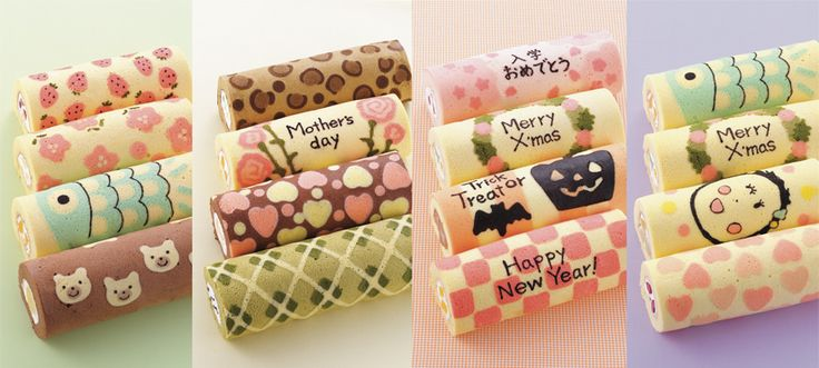 Decorated swiss roll--lots of cute ideas! These were made by using a purchased silicon sheet with designs printed on it as your guide for piping your motifs.