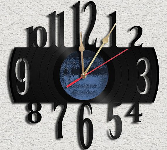 Numbers Vinyl Record Clock Upcycled vinyl records Great Gift