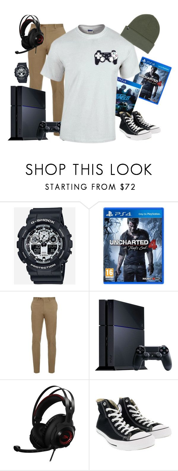 """""""Mens Controller Tee– htotheizzy Clothing"""" by htotheizzyclothing on Polyvore featuring G-Shock, Sony, Brioni, Converse, Billabong, men's fashion, menswear, gamer, ps4 and playstation"""