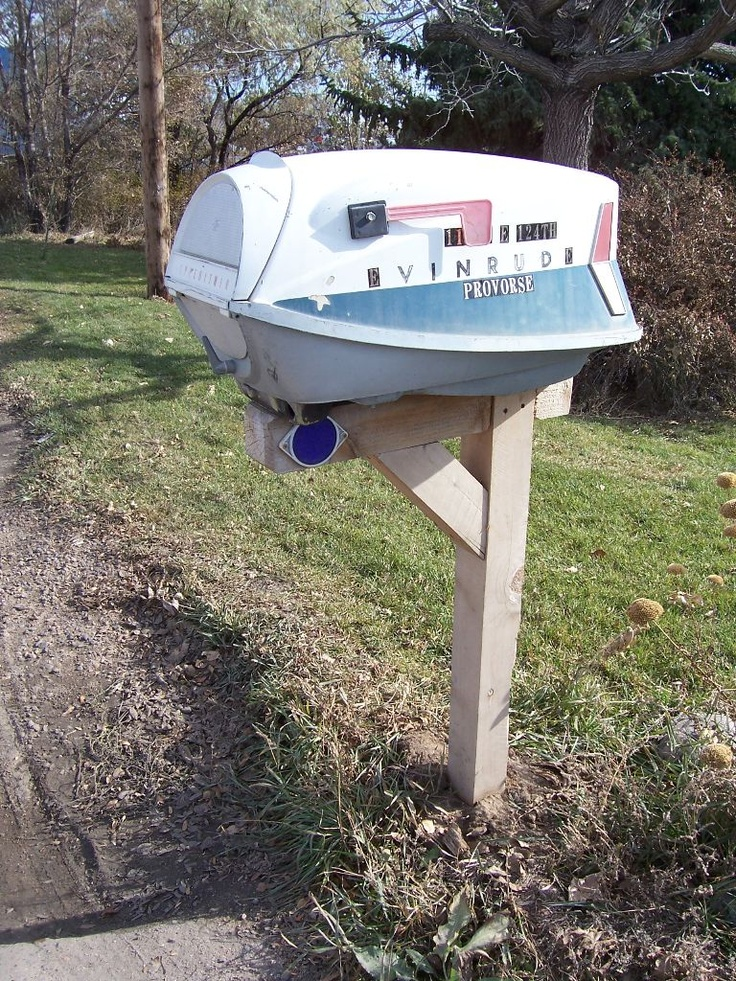 old boat motor into mailbox