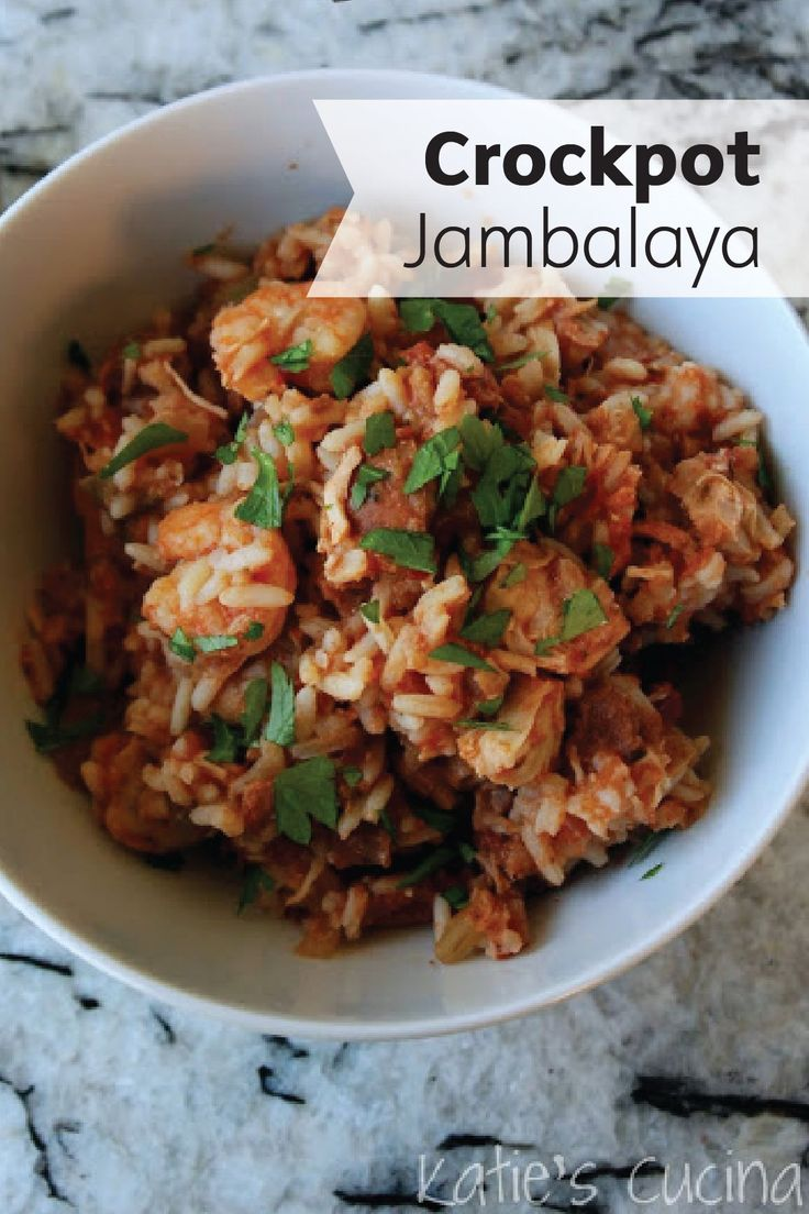 Let your crockpot do all of the work in this easy Jambalaya dinner recipe! Made with chicken, andouille sausage, tomatoes, and shrimp, this delicious meal comes together in your slow cooker while you are at work.
