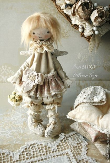 Текстильная кукла-ангел Аленка. Бохо стиль. - бледно-розовый,розовый