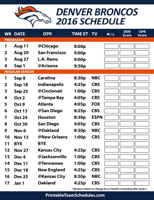 2016-17 Denver Broncos Schedule                                                                                                                                                     More