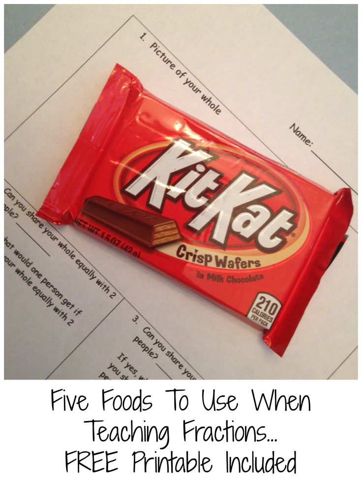 Five great foods to introduce fractions and equivalent fractions. Free printable included.