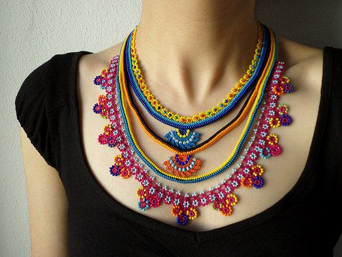 Beaded lace necklace - crocheted with yellow, orange, magenta pink, indigo and turquoise blue beads by irregularexpressions | Flickr - Photo Sharing!