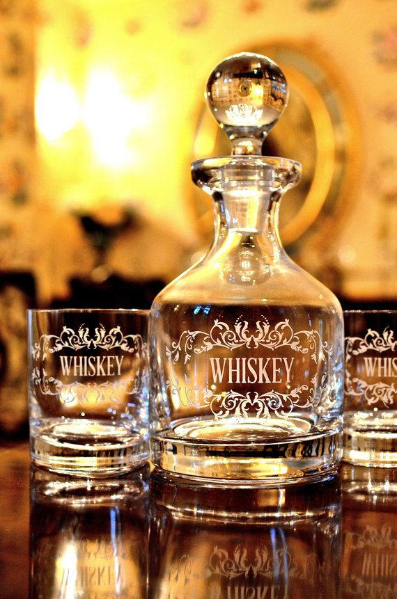 Crystal Whiskey Decanter Set with 2 Glasses by brieannebrodie, $150.00