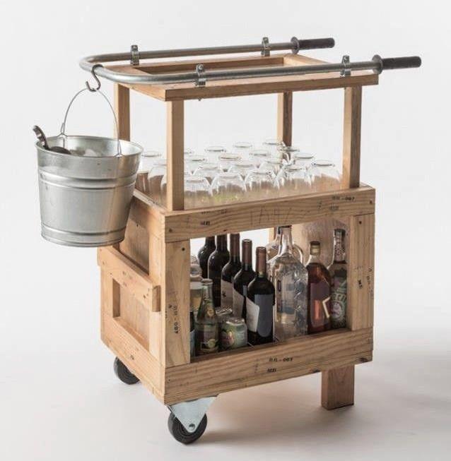 A Bar Cart Made from Pallets