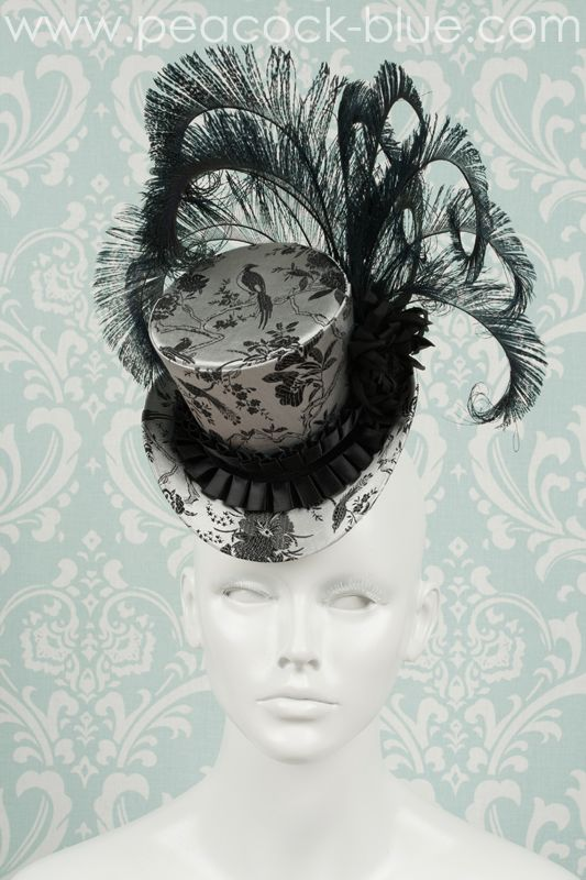 Our Spotlight Mini Top Hat: Gray Bird | Peacock Blue Design Studio | gray silk bird brocade with black peacock feathers | our mini top hats are perfect for wedding hats, derby hats, gold cup hats, preakness hats, gothic hats, victorian hats, steampunk hats, cosplay, masquerade, costume ball, fancy dress party