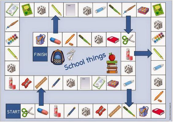 Weitere Spielfelder für Englisch   Die nächsten Spielfelder  für die Englischthemen Colours, School things, Family und Valentine´s Day sind...