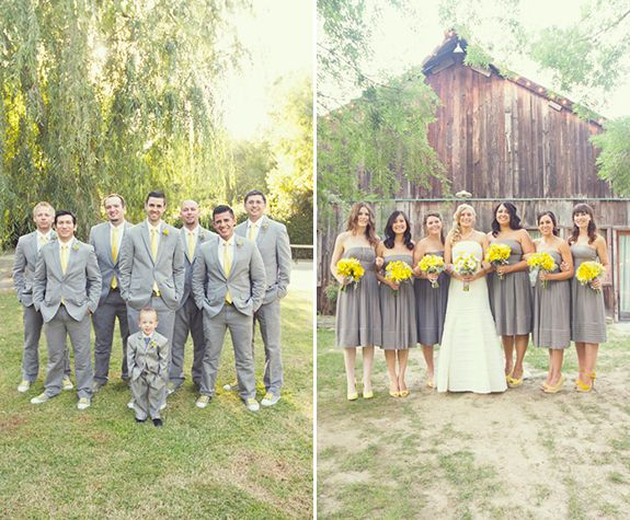 I like the grey dresses with yellow accents, I would do coral shoes to make it my color scheme