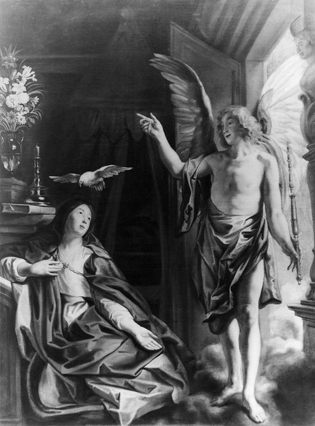 "Jacob Jordaens' The Annunciation formed a part of the collection of the J.K. Bartoszewicz Urban Museum of History and Art in Łódź. After Łódź was incorporated into Germany, the new German board of management at the museum looted and devastated its collection. In 1945 what remained of the original collection was transported to Saxony, from where boxes labelled ""Łódź"" were later taken over by divisions of the Red Army and transported to Russia."