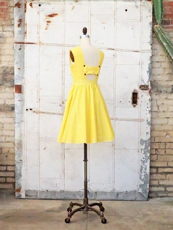 MEADOW | Yellow – 100% cotton vintage inspired dress with full gathered knee length skirt. Modest cap sleeves + back bow cut out + pockets