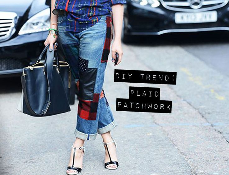 Plaid patches on jeans