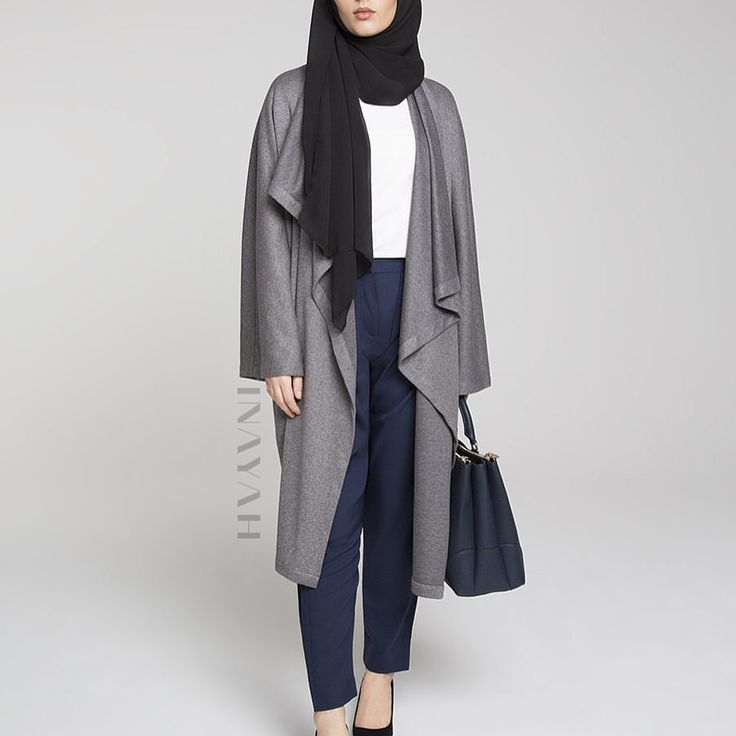 INAYAH | Grey Knitted #Cape + Navy Pleated #Trousers
