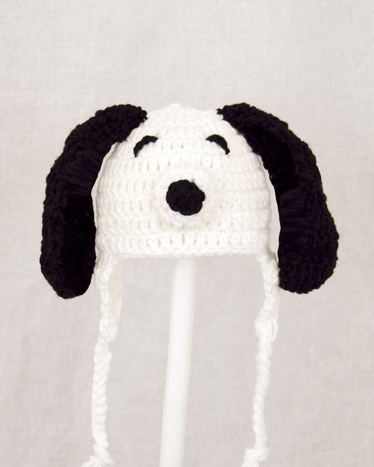 Snoopy Earflap Hat from Peanut, Knit Crochet Charlie Brown Dog Beanie baby-ad...