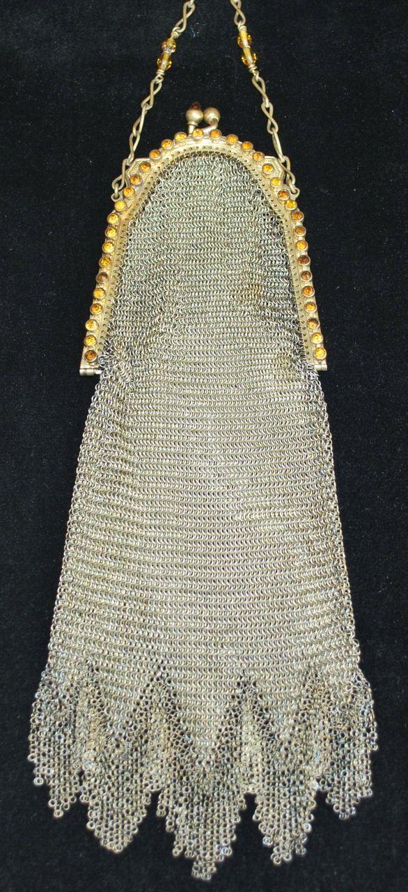 Whiting and Davis Jeweled Soldered Mesh Purse, 1920s. @Deidra Brocké Wallace