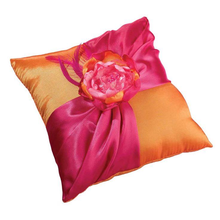 Hot Pink & Orange Wedding Ring Pillow