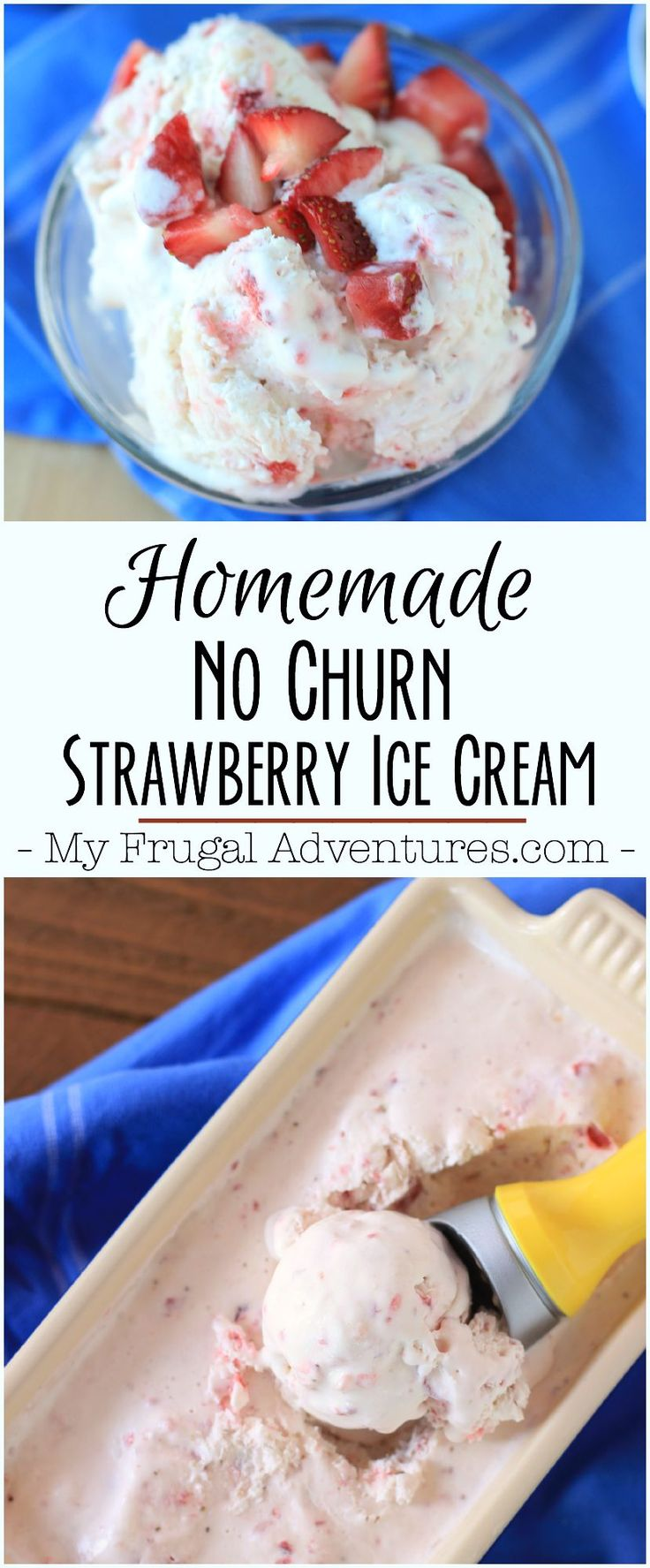 Quick 3 ingredient strawberry ice cream recipe.  So fresh, creamy and absolutely delicious!