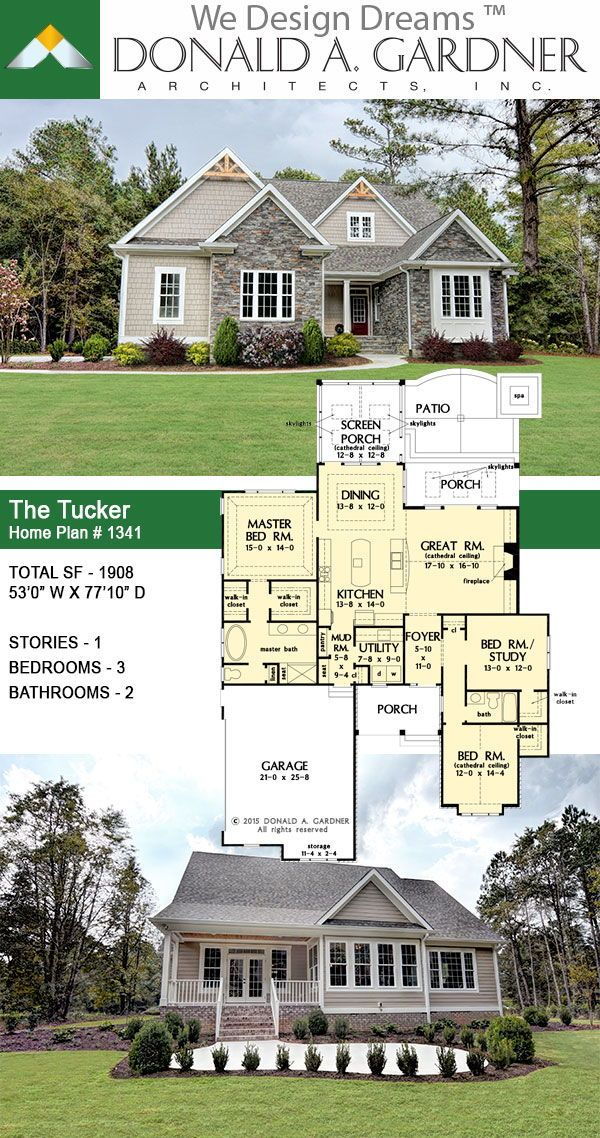 The Tucker House Plan 1341 The Kitchen Is Hub Of This Small Craftsman Home Plan Craftsman House Plans Craftsman Style House Plans Small Craftsman House Plans