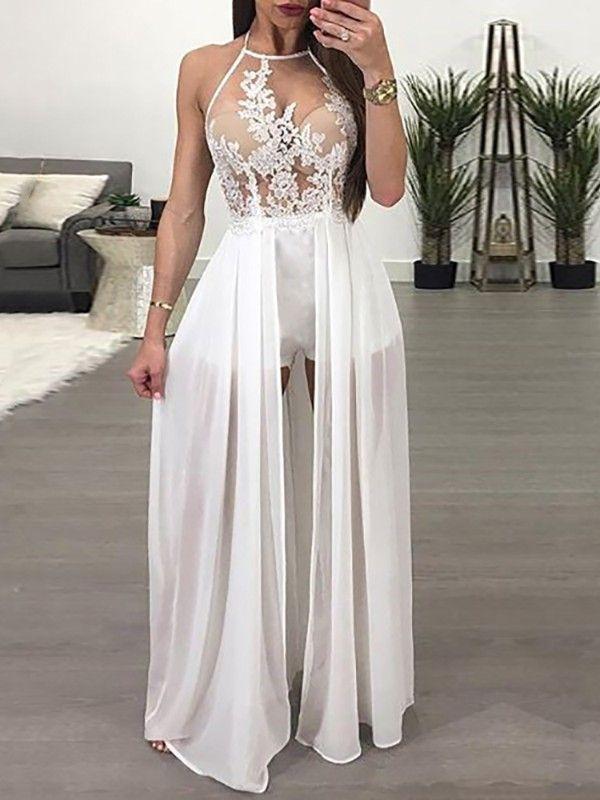 Sheer Mesh Lace Applique Maxi Romper Dress  f6c7de7db