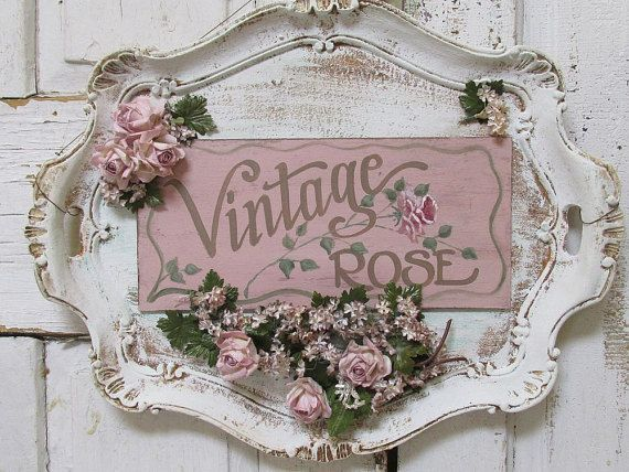 Serving tray wall hanging shabby cottage chic by AnitaSperoDesign