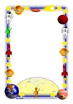 SparkleBox | Space fantasy-themed A4 page borders (SB2527) - SparkleBox