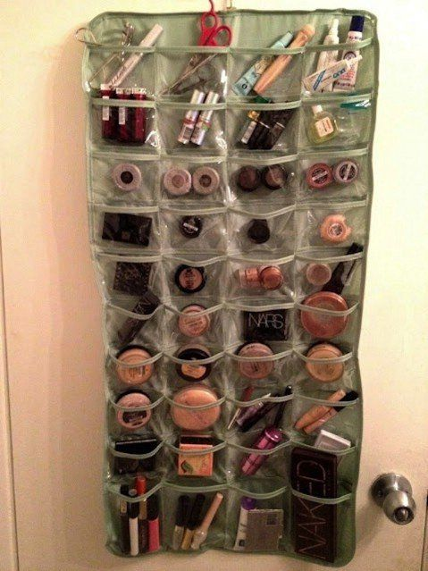 Hanging Makeup Organizer - Top 58 Most Creative Home-Organizing Ideas and DIY Projects.  IF you need this much make up, you might be in trouble!