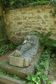 Caroline Walters' grave, in Germany, where a fresh flower is left every morning by an unknown visitor.