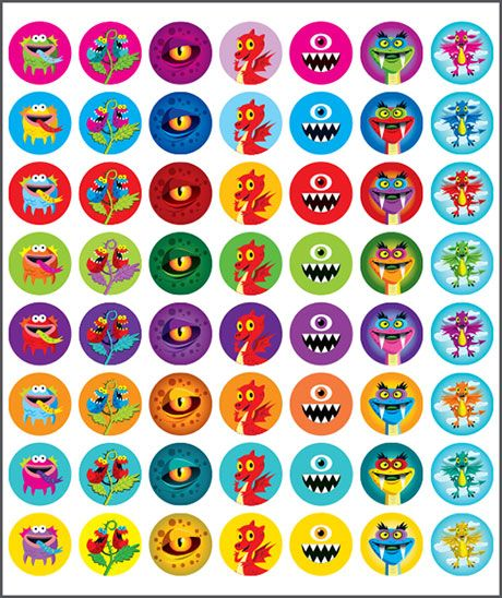 Stickers Mini Merit Monsters. Teacher sticker pack. Contains 280 sticker. Merit award.
