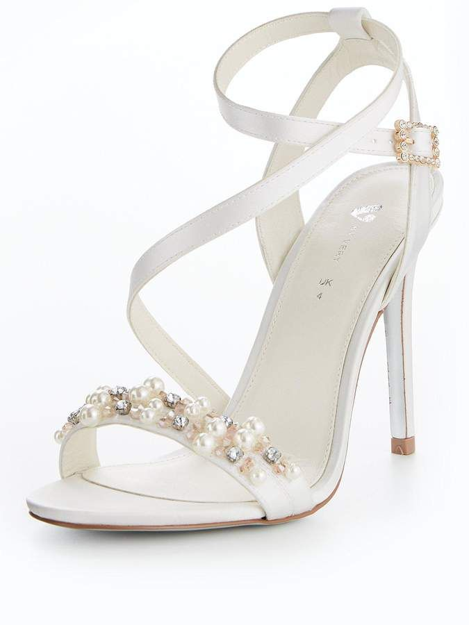 0f465dc1f78ea V by Very Lexy Bridal Pearl Assymetric Heeled Sandal Ivory ...