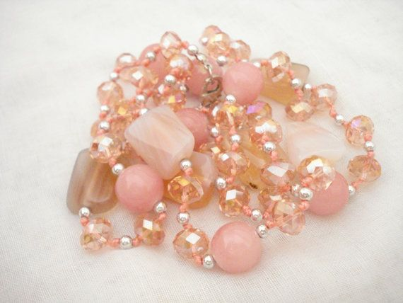 Pink crystal rosary necklace Crystal jewelry Sparkling by Poppyg